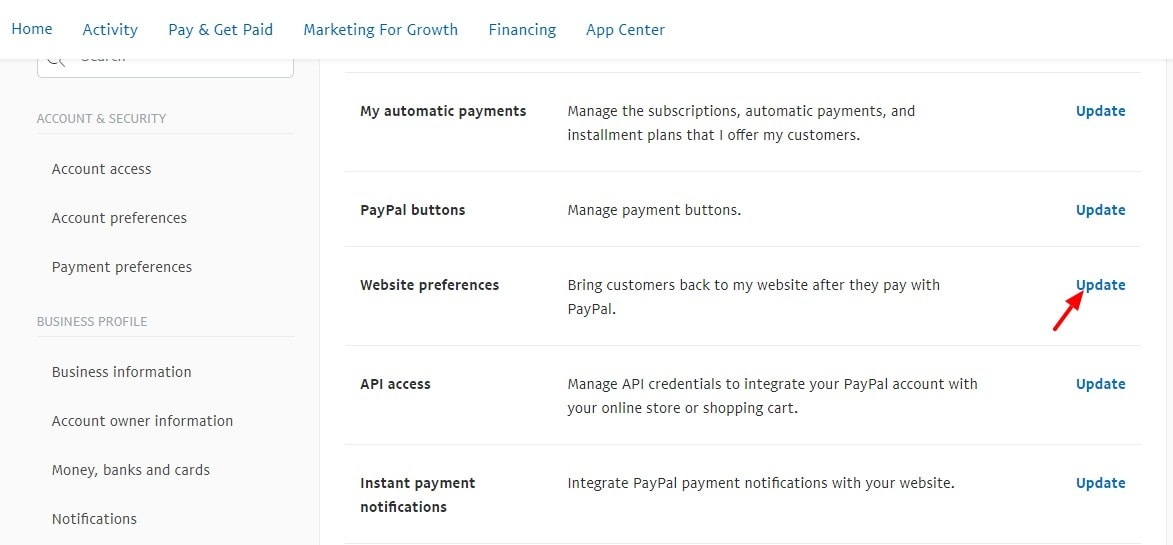 Account Settings PayPal 2