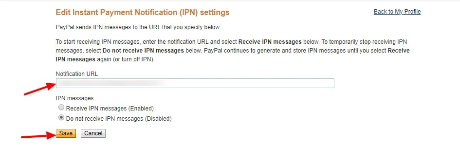 Edit Instant Payment Notification IPN settings PayPal